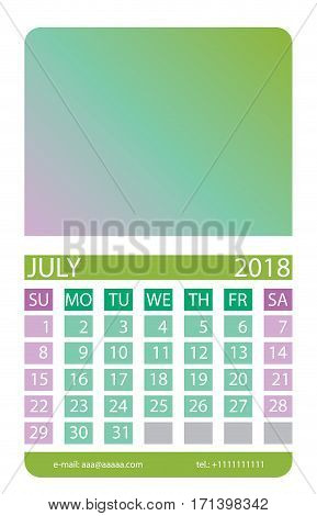 Calendar grid. July. This page wall calendar. In place of the gradient field can be foredeck your image. Eps 10