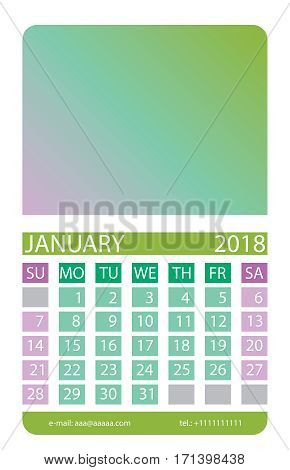 Calendar grid. January. This page wall calendar. In place of the gradient field can be foredeck your image. Eps 10