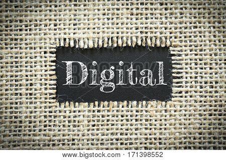 Text Digital on paper black has Cotton yarn background you can apply to your product.
