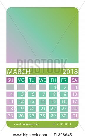 Calendar grid. March. This page wall calendar. In place of the gradient field can be foredeck your image. Eps 10