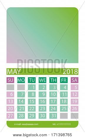 Calendar grid. May. This page wall calendar. In place of the gradient field can be foredeck your image. Eps 10