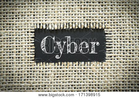 Text Cyber on paper black has Cotton yarn background you can apply to your product.