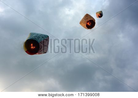 PINGXI, TAIWAN - FEBRUARY 11, 2017 - Lanterns carry Chinese New Year wishes into the heavens at the Pingxi Sky Lantern Festival in Taiwan