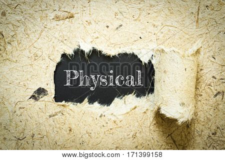 Text Physical on paper black has Mulberry paper background you can apply to your product.