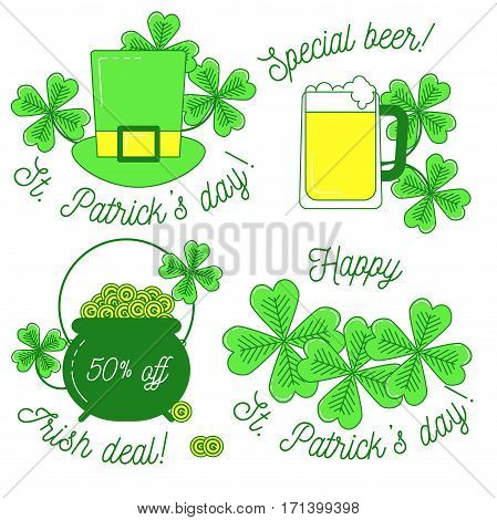 Clover, Hat, Beer And Cauldron,st. Patrick's Day Set