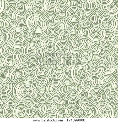 Vector seamless abstract green pattern of striped circles in circles.