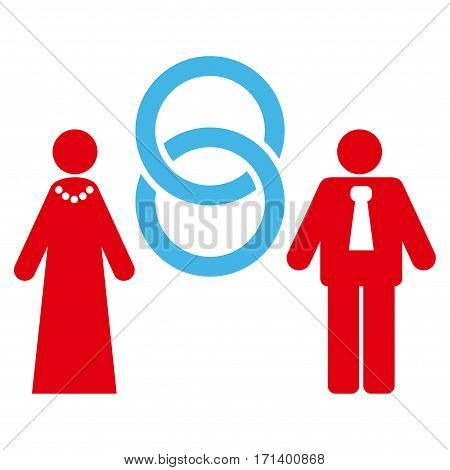 Marriage Persons flat icon. Vector bicolor blue and red symbol. Pictogram is isolated on a white background. Trendy flat style illustration for web site design logo ads apps user interface.