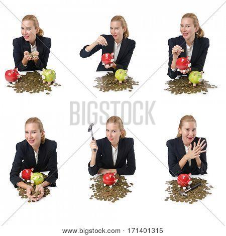 Woman breaking piggy bank for savings