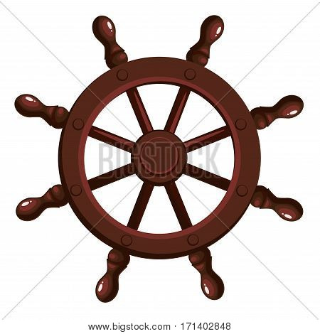 Cartoon ship's wheel on a white background. Vector illustration.