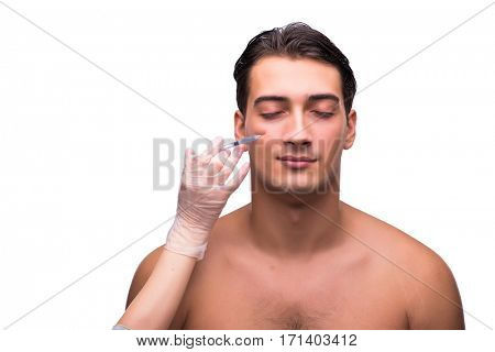 Man undergoing plastic surgery isolated on white