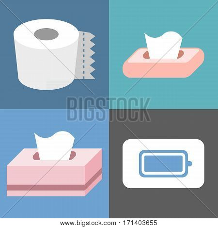 Vector different tissue icons set, flat design