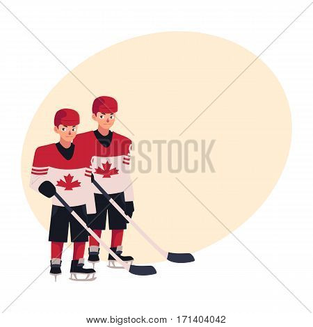 Two hockey players in Canadian uniform with maple leaf standing and holding sticks, cartoon vector illustration with place for text. Full length portrait of two Canadian hockey players