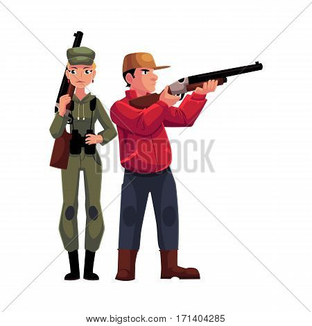 Two hunters, male and female, standing and holding rifles, cartoon vector illustration isolated on white background. Full length portrait of slim woman hunter in khaki clothing and man in hunting vest