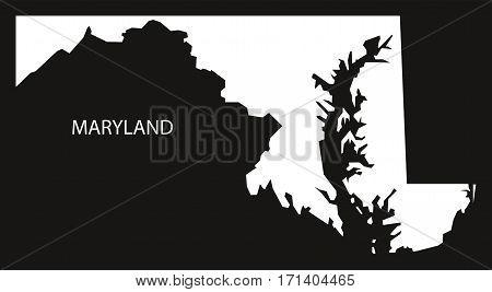Maryland USA Map black inverted silhouette illustration