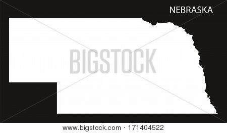 Nebraska USA Map black inverted silhouette illustration
