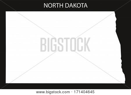 North Dakota USA Map black inverted silhouette illustration