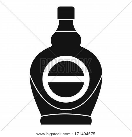 Maple syrup in glass bottle icon. Simple illustration of maple syrup in glass bottle vector icon for web