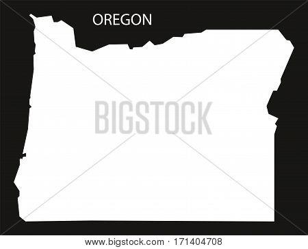 Oregon USA Map black inverted silhouette illustration