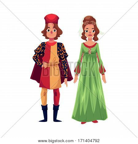 Italian Man and woman in Renaissance time costumes, clothing, cartoon vector illustration isolated on white background. Medieval, Renaissance Italian couple in traditional historical dresses