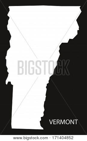 Vermont USA Map black inverted silhouette illustration