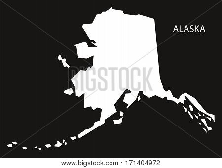 Alaska USA Map black inverted silhouette illustration
