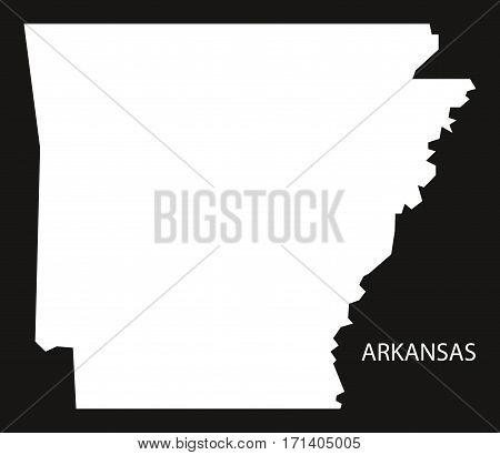 Arkansas USA Map black inverted silhouette illustration