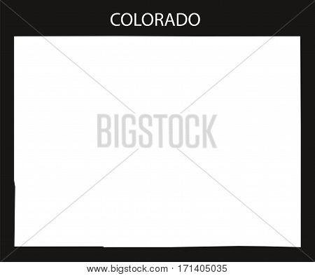 Colorado USA Map black inverted silhouette illustration