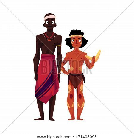 Native black skinned African tribal man and Australian aborigine, cartoon vector illustration isolated on white background. Full length portrait of African and Australian aborigines