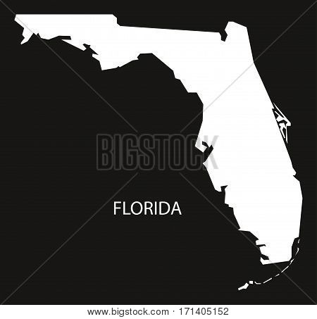 Florida USA Map black inverted silhouette illustration