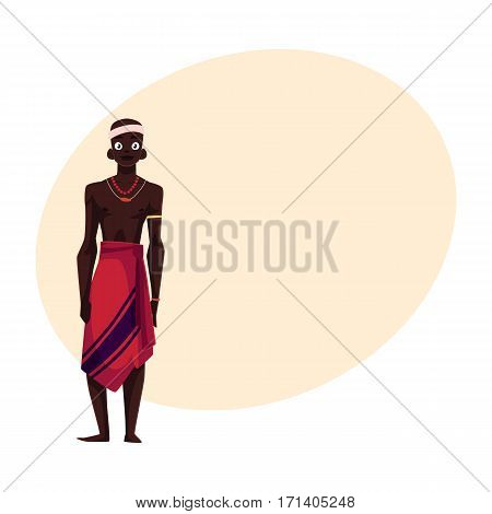 Native aborigine man from African tribe in loincloth and bead necklace, cartoon vector illustration with place for text.