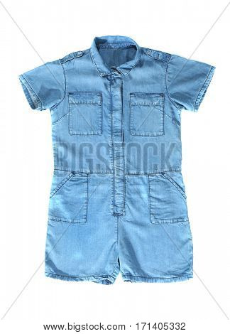 Denim overalls isolated on white