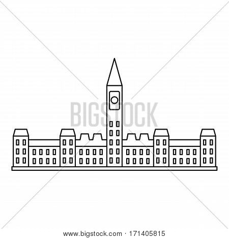 Parliament building in Ottawa icon. Outline illustration of Parliament building in Ottawa vector icon for web