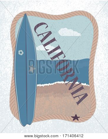 surfboard and rope. the beach in the evening. surf. t-shirt design poster banner ticket. vector illustration.