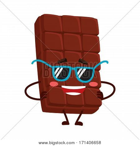 Cool, funny chocolate bar character in funky sunglasses, standing with arms akimbo, cartoon vector illustration isolated on white background. Funky chocolate character, mascot, emoticon in sunglasses