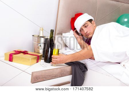 Man having hangover after night party