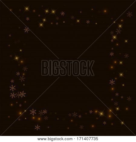 Sparse Starry Snow. Square Messy Frame On Black Background. Vector Illustration.