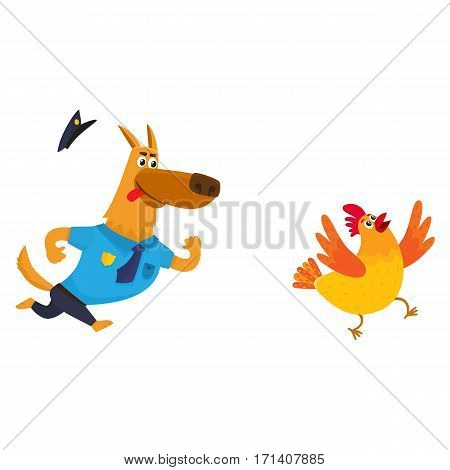 Funny shepherd dog character in blue police uniform chasing a chicken, cartoon vector illustration isolated on white background. Funny police dog character running after cackling chicken