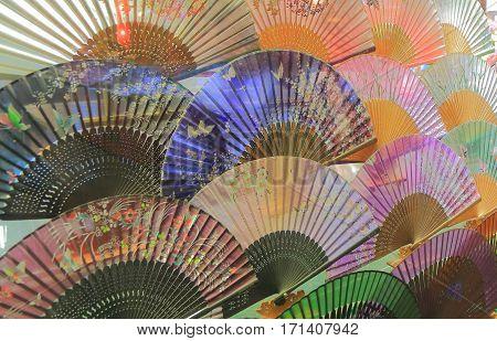 SHANGHAI CHINA - NOVEMBER 2, 2016: Chinese traditional folding fan handicraft shop at Yu Garden.