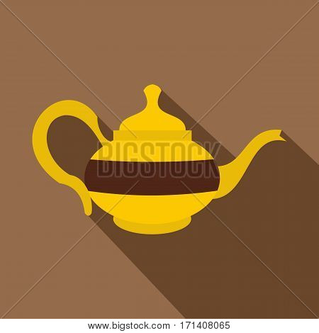 Teapot icon. Flat illustration of teapot vector icon for web isolated on coffee background