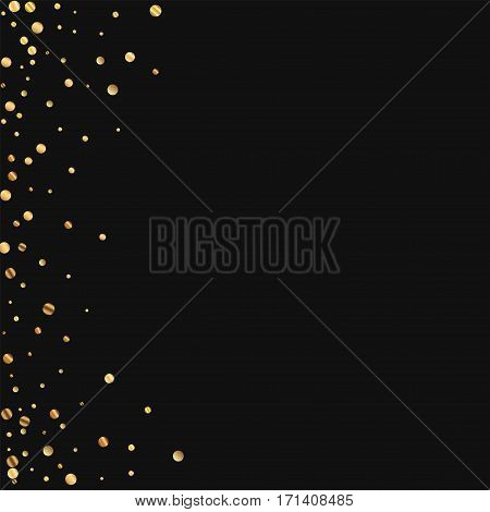 Sparse Gold Confetti. Abstract Left Border On Black Background. Vector Illustration.