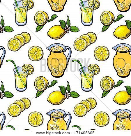Seamless pattern of lemon, lemonade, jar and glasses, sketch vector illustration on white background. Lemon, lemon slices, lemonade, jar, glass seamless pattern, background, backdrop design