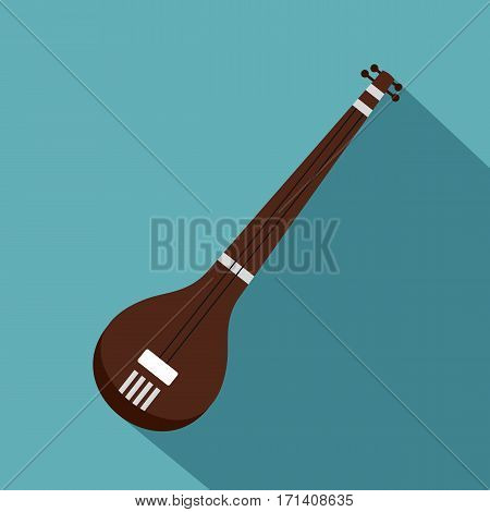Traditional Indian sarod icon. Flat illustration of traditional Indian sarod vector icon for web isolated on baby blue background