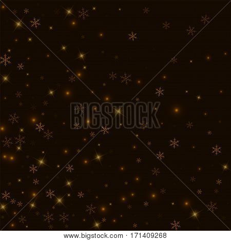 Sparse Starry Snow. Abstract Mess On Black Background. Vector Illustration.