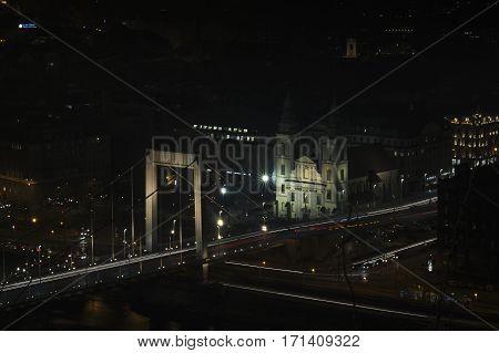 Budapest, Hungary - January 27, 2017: Traffic On The Elisabeth Bridge In Budapest, Hungary