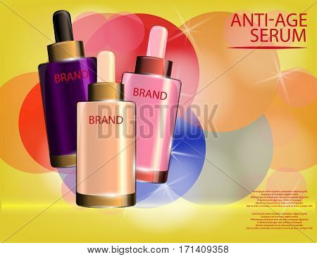 Collagen Premium Serum container template glossy bottles on the sparkling effects background. Mockup 3D Realistic Vector illustration for design template