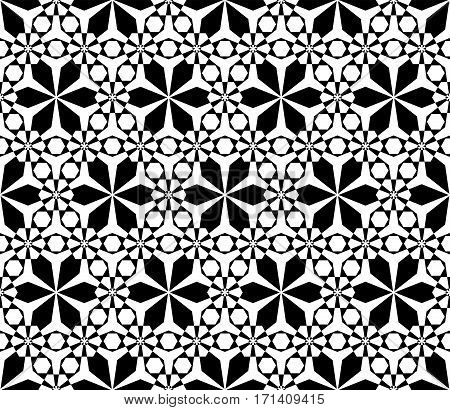Vector monochrome seamless pattern, simple black & white ornamental texture, stylish floral geometric background, lattice. Abstract repeat backdrop. Design element for decoration, print, textile, digital, web