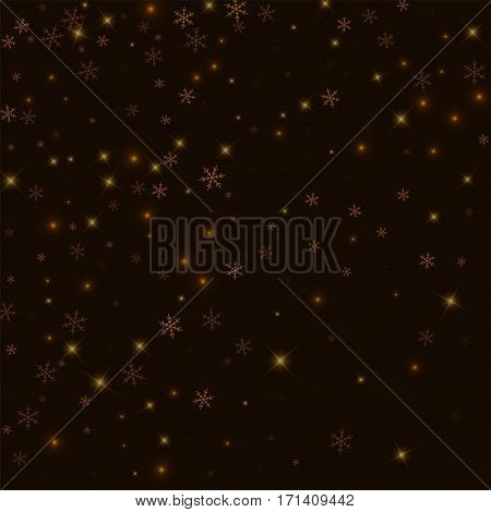 Sparse Starry Snow. Abstract Scatter On Black Background. Vector Illustration.