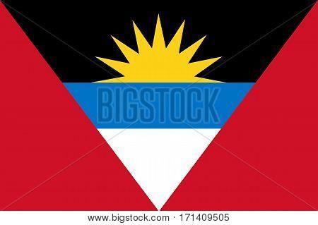 Colored Flag Of Antigua And Barbuda