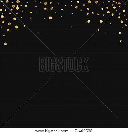 Sparse Gold Confetti. Abstract Top Border On Black Background. Vector Illustration.