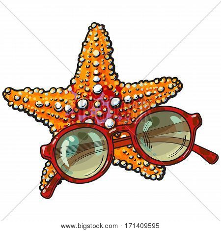 Hand drawn starfish and round sunglasses in red plastic frame, sketch style vector illustration isolated on white background. Hand drawn tropical starfish and sunglasses, summer vacation at the beach
